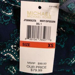 Michael Kors Dresses - Michael Kors Blue Green Paisley Mini Dress XS